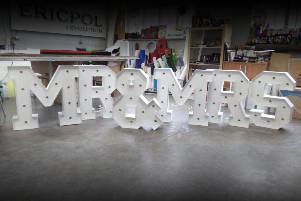 litery przestrzenne na sale weselna